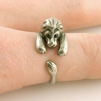 Animal Wrap Ring - Lion - White Bronze - Adjustable Ring - keja jewelry