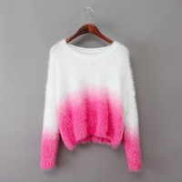 Gradient round neck pullover sweater XF1201C (pink)