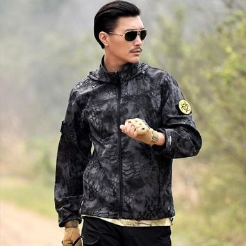 Men's Summer Hunting Jacket Breathable Camouflage Quick Drying Jacket Men Military Tactics Jacket Hooded Combat Training Jacket