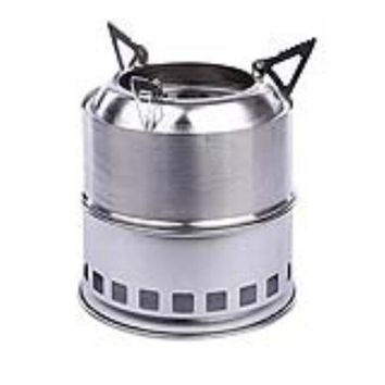 DCCKJG2 Stainless Steel Lightweight Wood Burning Camping Stove for Outdoor Cooking Picnic Barbecue Camping (Silver)