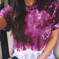 Ladies Womens Tie Dye Gradient Elephant T Shirt