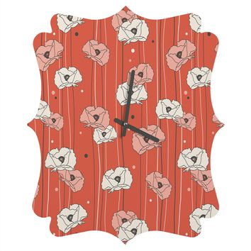 Heather Dutton Red Poppy Field 1 Quatrefoil Clock