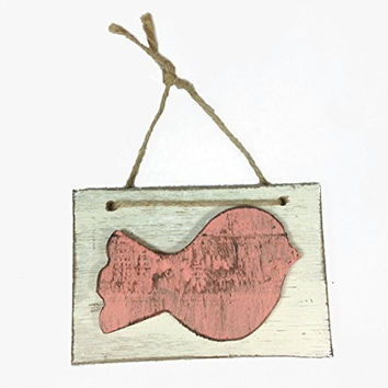 Hand Painted Decorative Birdy Block Wall Door Hanging Art - 6-1/4-in (Coral)