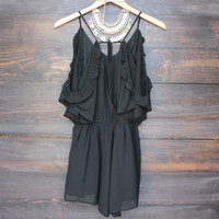 open back peek a boo shoulder romper - black