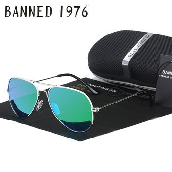 BANNED 1976 classic HD polarized metal frame aviation sunglasses classic design women men