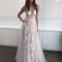 Plunging Neck Lace Prom Dress with V Back Formal Dreass Custom Size 2 4 6 8 10