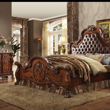 Acme 23140Q 5 pc dresden collection cherry oak finish wood queen bedroom set with tufted upholstery