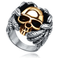 Stainless Steel Gothic Wing Skull Ring (Gold Color)