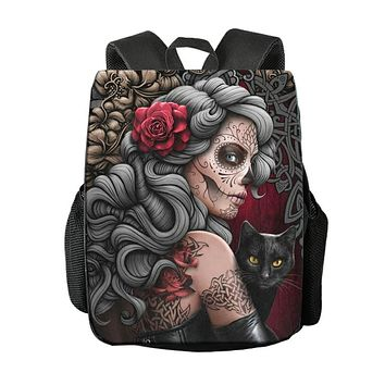 Replaceable Pattern Gothic Skull Backpack School Bag