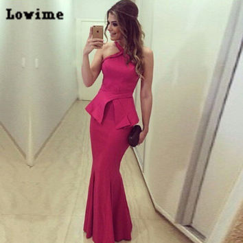 2016 Halter Peplum Mermaid Prom Dresses Floor Long Simple Satin Gala Jurken Red Evening Ruched Vestido De Curto