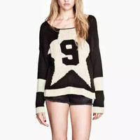 "Block ""9"" Print Knitted Sweater"