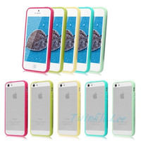 Candy Color TPU Bumper Frame Matte Clear Hard Back Skin Case Cover for Apple iPhone 4S 5S 5C Christmas gift = 1958462404