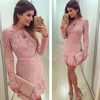 High Quality New Material Vestidos Women Fashion Casual Lace Dress Pink Evening Party Dresses = 1956662788