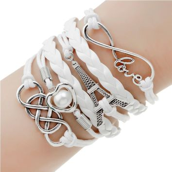 Fashion jewelry double leather Charm bracelet