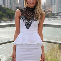 White Peplum Dress with Black High Lace Neckline