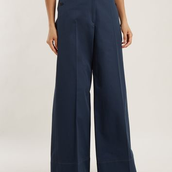 High-rise wide-leg cotton-twill trousers | Lemaire | MATCHESFASHION.COM UK