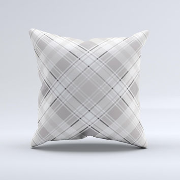 Gray & White Plaid Layered Pattern V5  Ink-Fuzed Decorative Throw Pillow