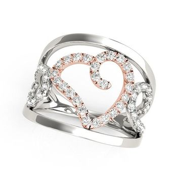 Heart Motif Filigree Style Diamond Ring in 14K White And Rose Gold (1/4 ct. tw.)