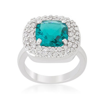 Regina Aqua Blue Cushion Cut Cocktail Ring | 5ct | Cubic Zirconia | Silver