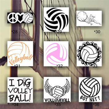 VOLLEYBALL vinyl decal - custom car window sticker - team sports decal - personalized volleyball sticker - #28-36