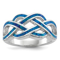Sterling Silver Blue Inlay Created Opal Celtic Knot Ring