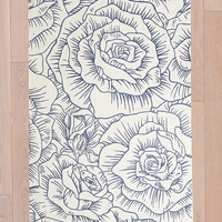 Inked Roses 3x5 Rug in Blue - Urban Outfitters