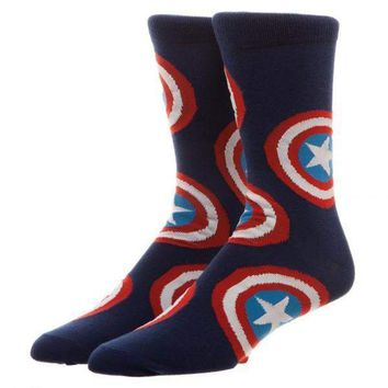 Marvel Captain America Large All Over Print Crew Socks
