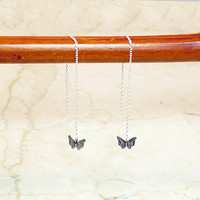 Sterling Silver Tiny Butterfly Threader Earrings, Butterfly Earrings, Silver Threaders, Threader Earrings, Butterfly Earrings, Threaders