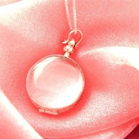 Beveled Glass Locket - Circle - Add/Replace Your Own Photos - with Sterling Silver Chain included