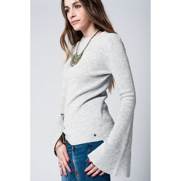Gray knitted sweater with bell sleeves