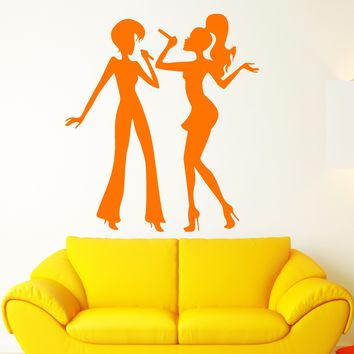 Vinyl Wall Decal Karaoke Club Singer Microphone Party Disco Stickers (2413ig)