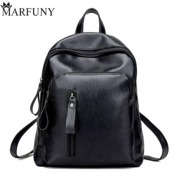 High Quality Leather Backpack Fashion Solid Backpacks For Teenage Girls School Bags Big Capacity Women Backpack Black Mochila