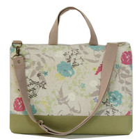"13"" Macbook or Laptop bag with handles and detachable shoulder strap-spring -Ready to ship"