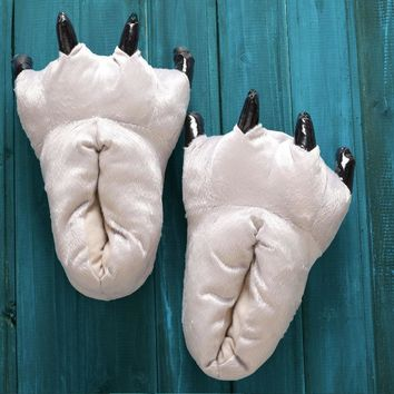 Unisex Soft Plush Home Paw Slippers Animal Costume Claw Shoes Feet Costume for Adult and Kid.