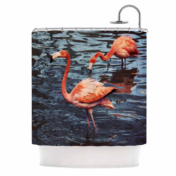 "Angie Turner ""Pink Flamingo "" Animals Blue Shower Curtain"