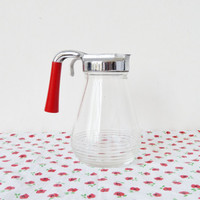 retro cherry red breakfast dispenser . small . glass . honey or syrup pitcher . retro kitchen