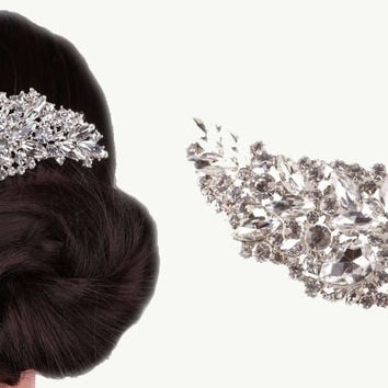 Headpiece - Large Silver Rhinestone Bridal Hair Comb - Bridal Hair Clip