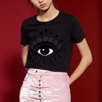 Fashion print eyes round neck short-sleeved T-shirt