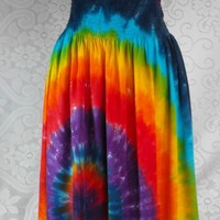 Rainbow Swirl Tie Dye Rayon Skirt with Smocked Waist