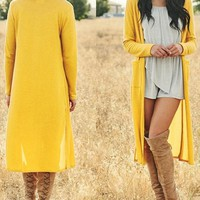 New Yellow Pockets Slit Long Sleeve Cardigan Oversize Casual Coat