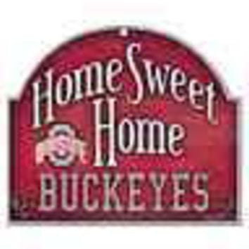 "OHIO STATE BUCKEYES HOME SWEET HOME ARCHED WOOD SIGN 10""x11"" BRAND NEW WINCRAFT"
