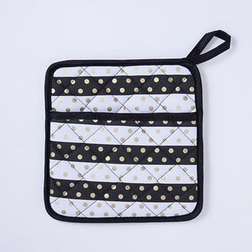 Black and White Stripes Gold Dots Pot Holder