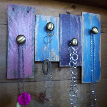 Jewelry Organizer-Jewelry Display-Jewelry Hanger-Reclaimed Wood-Pallet Jewelry Hanger-Hanging Jewelry Organizer-Bright colored wall decor