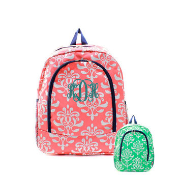 Personalized With Embroidery Large 16 Inch Damask Printed School Backpack In Coral or Mint
