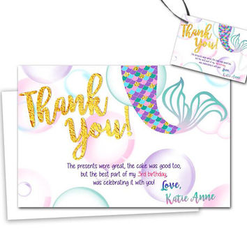 Mermaid Thank You Cards - Purple Gold Mermaid Thank You Card - Mermaid Baby Shower - Mermaid Birthday - Mermaid Party Tags - Under The Sea
