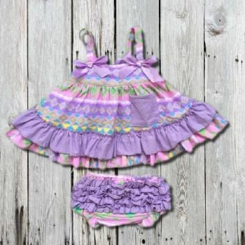 LAVENDER PASTEL AZTEC SWING TOP SET - INFANT, BABY GIRLS 6-12M, 12-18M, 18-24M