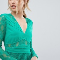 ASOS Pleated Lace Insert Midi Dress at asos.com