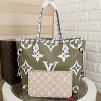 DCCK2 1005 Louis Vuitton LV Neverfull Shopping Bag Daier Azur Canvas Handbag 32-29-17cm White Green