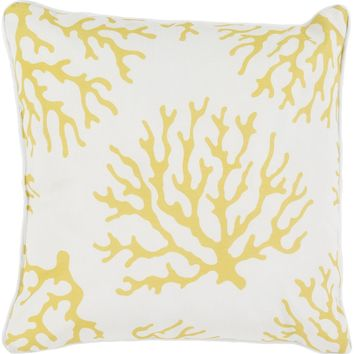 Coral Throw Pillow Yellow, Neutral