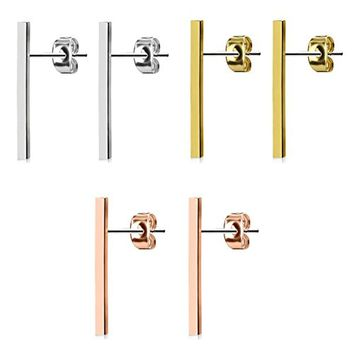 BodyJ4You 3-Pair Long Bar Earrings Studs Brushed Finish 20mm Set Stainless Steel Post Ear Stud Women Pack